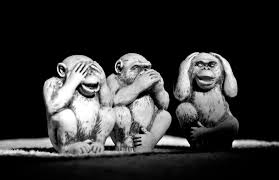 three monkeys: don't see, don't speak, don't hear